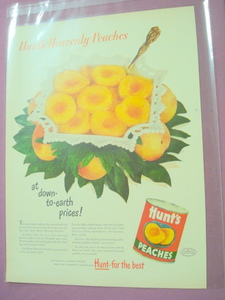 1949 Hunt's Canned Peaches Color Ad