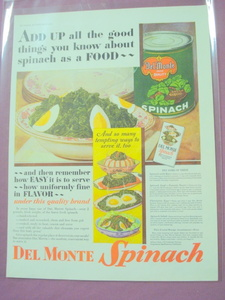 1930 Del Monte Spinach Color Ad With Recipes