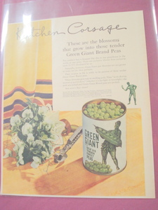 1940's Color Ad-Jolly Green Giant Brand Peas
