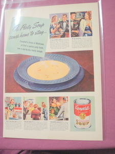 1941 Campbell's Cream of Mushroom Soup Color Ad