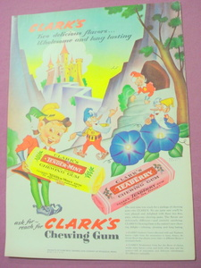 1943 Clark's Chewing Gum Color Ad With Elves