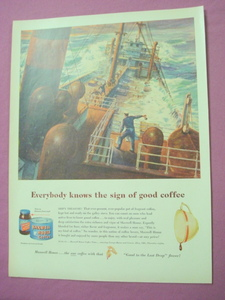 1949 Maxwell House Coffee Men At Sea Ad