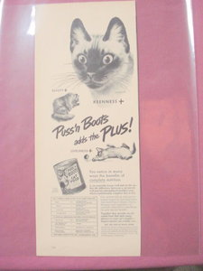 1949 Puss 'n Boots Cat Food Ad With Illustrated Cat