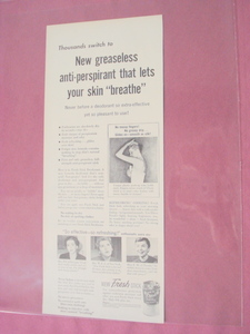 1955 New Fresh Stick Deodorant Ad Pharmacraft Corp.