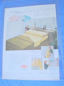 1954 Du Pont Nylon Sheets Color Ad Dupont