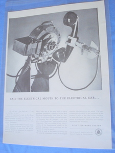 1941 Bell Telephone System Electrical Mouth & Ear Ad