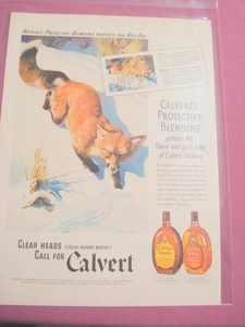 1941 Calvert Whiskey Ad With Red Fox
