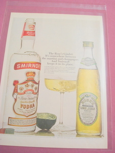 1969 Smirnoff Vodka and Rose's Lime Ad In Color