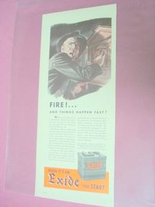 1940's Exide Hycap Battery Fire Alarm Ad