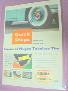 1955 General Nygen Tubeless Tire One Page Color Ad