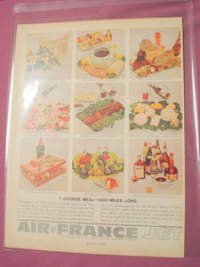 Air France 1960 Color Ad 7 Course Meal 1600 Miles Long