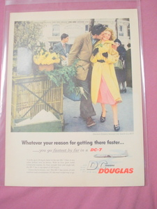 1955 Douglas DC-7 Airliner One Page Color Ad