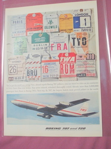 Boeing 707 and 720 Baggage Tags Airlines 1960 Ad