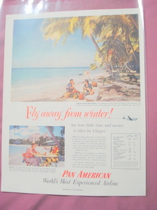 1953 Pan American Airline Strato-Clippers Hawaii Ad