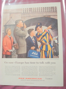 1956 Pan American Airline Swiss Guards at Vatican Ad