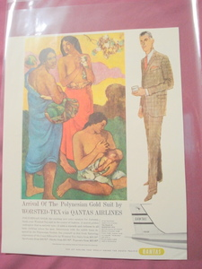 Qantas Airlines Worsted Tex Polynesian Suit 1960 Ad