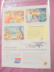 1960 United Air Lines Mainliners Color Ad DC-7