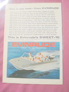 1964 Evinrude Sweet 16 Outboard Motor Boat Color Ad