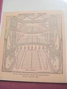 1923 Maxine Elliot Theatre Seating Chart, New York City