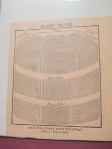 1923 Shubert Theatre Seating Chart, New York City