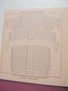 1923 Belmont Theatre Seating Chart, New York City