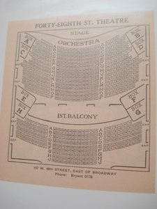 1923 Forty-Eighth St. Theatre Seating Chart, New York City