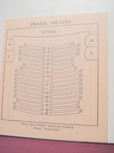 1923 Frazee Theatre Seating Chart, New York City