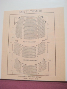 1923 Gaiety Theatre Seating Chart, New York City