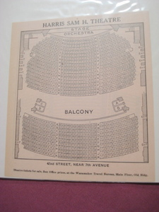 1925 Harris Sam H. Theatre Seating Chart, New York City