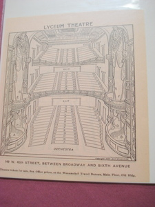1925 The Lyceum Theatre Seating Chart, New York City