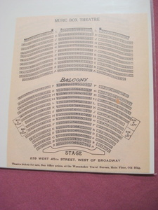 1925 Music Box Theatre Seating Chart, New York City