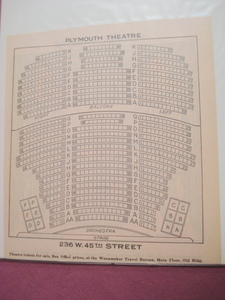 1925 Plymouth Theatre Seating Chart, New York City