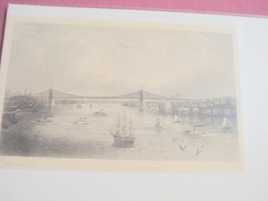 1880 Illustrated Page View of the East River Bridge, NY