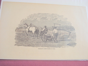 1880 Illustrated Page Wheeler's Patent Reaper At Work