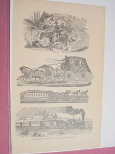 1880 Illustrated Page Transportation Horse to Railroad