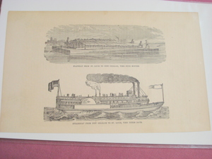 1880 Illustrated Page Flatboat & Steamboat