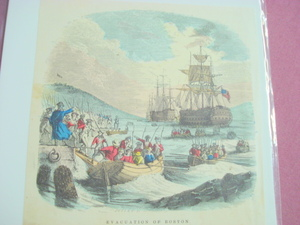 1860 Colored Illustration of Evacuation of Boston