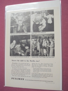 1945 Pullman Company Railroad Ad World War II Wounded