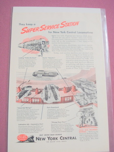 1945 Ad New York Central Railroad Super Service Station