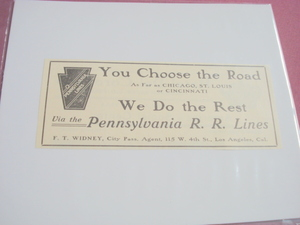1905 Pennsylvania R. R. Lines You Choose The Road Ad