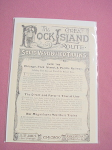 1889 Railroad Ad The Great Rock Island Route