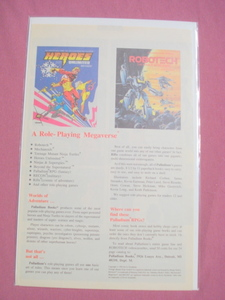 1992 Palladium Books Ad Robotech Heroes Unlimited
