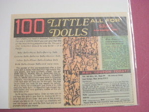 1970's Color Ad-100 Little Dolls-All For $3.00