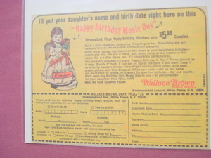 1974 Color Ad-Wallace Brown Happy Birthday Music Box