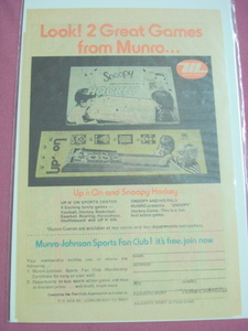 1975 Munro Games Ad Snoopy Hockey & Up N' On Sports