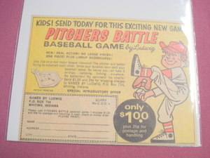 1966 Pitchers Battle Baseball Game Ad Games By Ludwig