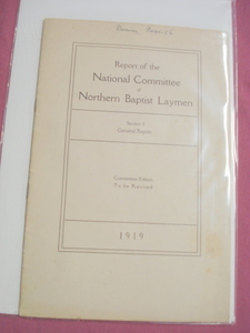 1919 Report National Committe Northern Baptist Laymen