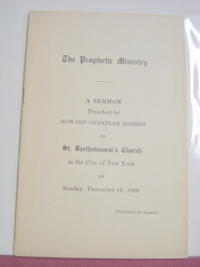 Prophetic Ministry 1926 Softcover Booklet St. Bartholomew's Church