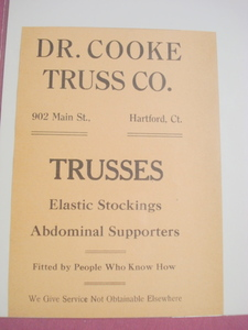 1918 Ad Dr. Cooke Truss Co., 902 Main St. Hartford, Ct.