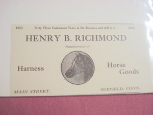 1918 Ad Henry B. Richmond, Horse Goods Mftr Suffield Ct